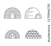 arctic igloo icon set. outline... | Shutterstock .eps vector #1170946735