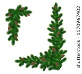 christmas decorations with fir... | Shutterstock .eps vector #1170967402