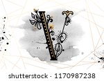 uppercase letter v with... | Shutterstock .eps vector #1170987238