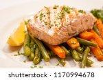 garnished grilled salmon filet... | Shutterstock . vector #1170994678
