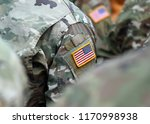 usa patch flag on soldiers arm. ... | Shutterstock . vector #1170998938