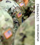 usa patch flag on soldiers arm. ... | Shutterstock . vector #1170998962