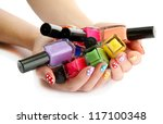 woman hands with nail polishes... | Shutterstock . vector #117100348