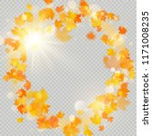 fall maple leaves frame with... | Shutterstock .eps vector #1171008235