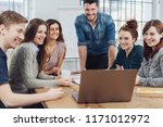 happy successful business team... | Shutterstock . vector #1171012972