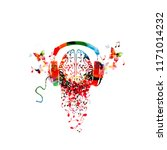 colorful human brain with music ... | Shutterstock .eps vector #1171014232