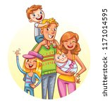 my big family together. family... | Shutterstock .eps vector #1171014595