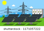 solar power station with... | Shutterstock . vector #1171057222