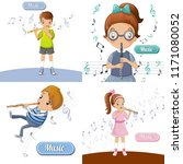 flute music banner set. cartoon ... | Shutterstock .eps vector #1171080052