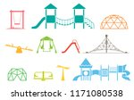 kid playground equipment icons. ... | Shutterstock .eps vector #1171080538