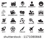 film genres icons. black flat... | Shutterstock .eps vector #1171080868