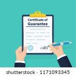 man writes certificate of... | Shutterstock .eps vector #1171093345