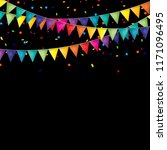party background with flags and ... | Shutterstock . vector #1171096495