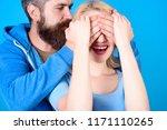 loving man closing woman eyes...   Shutterstock . vector #1171110265