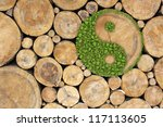 stacked logs background with... | Shutterstock . vector #117113605