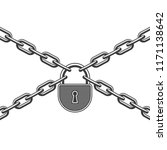 closed padlock and metal chain... | Shutterstock .eps vector #1171138642