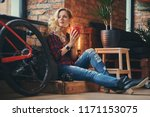 sensual blonde hipster girl... | Shutterstock . vector #1171153075