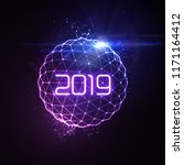 happy new 2019 year. futuristic ... | Shutterstock .eps vector #1171164412