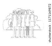 group of women in the field... | Shutterstock .eps vector #1171169872