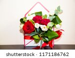 red and white roses on the...   Shutterstock . vector #1171186762