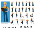 set of builder people working... | Shutterstock .eps vector #1171187692