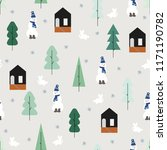 winter seamless pattern. cute... | Shutterstock .eps vector #1171190782