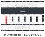 2019 june calendar planner.... | Shutterstock .eps vector #1171194718