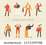 people who shop at the big sale ... | Shutterstock .eps vector #1171195708