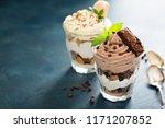 individual desserts in glasses  ... | Shutterstock . vector #1171207852