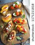 crostini or bruschetta board... | Shutterstock . vector #1171211818