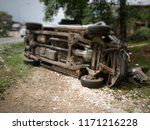 car crash overturned accident... | Shutterstock . vector #1171216228