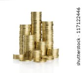 Stack Of Golden Coins Isolated...