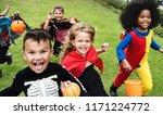 little kids at a halloween party | Shutterstock . vector #1171224772
