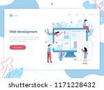 modern web banner. a team of... | Shutterstock .eps vector #1171228432