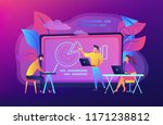 students with laptops sitting... | Shutterstock .eps vector #1171238812