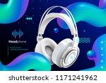 premium white headphone ads on... | Shutterstock .eps vector #1171241962