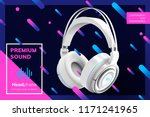 premium white headphone ads on... | Shutterstock .eps vector #1171241965