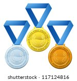 Illustration of three winners sports style medals for first second and third prize - stock photo