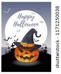 jack o lantern the pumpkin and... | Shutterstock .eps vector #1171250038