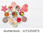 colorful sweets box. lollipops  ... | Shutterstock . vector #1171252072