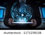 digital marketing media ... | Shutterstock . vector #1171258138