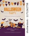 happy halloween party poster... | Shutterstock .eps vector #1171262758