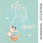 Stock vector cute birthday mouse with flowers 1171267018