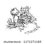 cozy garden corner. bench.... | Shutterstock .eps vector #1171271185