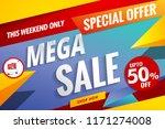 mega sale banner template cart... | Shutterstock .eps vector #1171274008