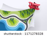paper art of red plane fly and... | Shutterstock .eps vector #1171278328