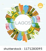 lagos nigeria city skyline with ... | Shutterstock .eps vector #1171283095