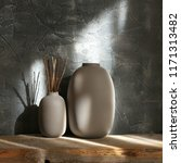 neutral colored vases with wood ... | Shutterstock . vector #1171313482