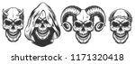 set of demons skull with horns. ... | Shutterstock .eps vector #1171320418