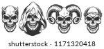 Set Of Demons Skull With Horns...